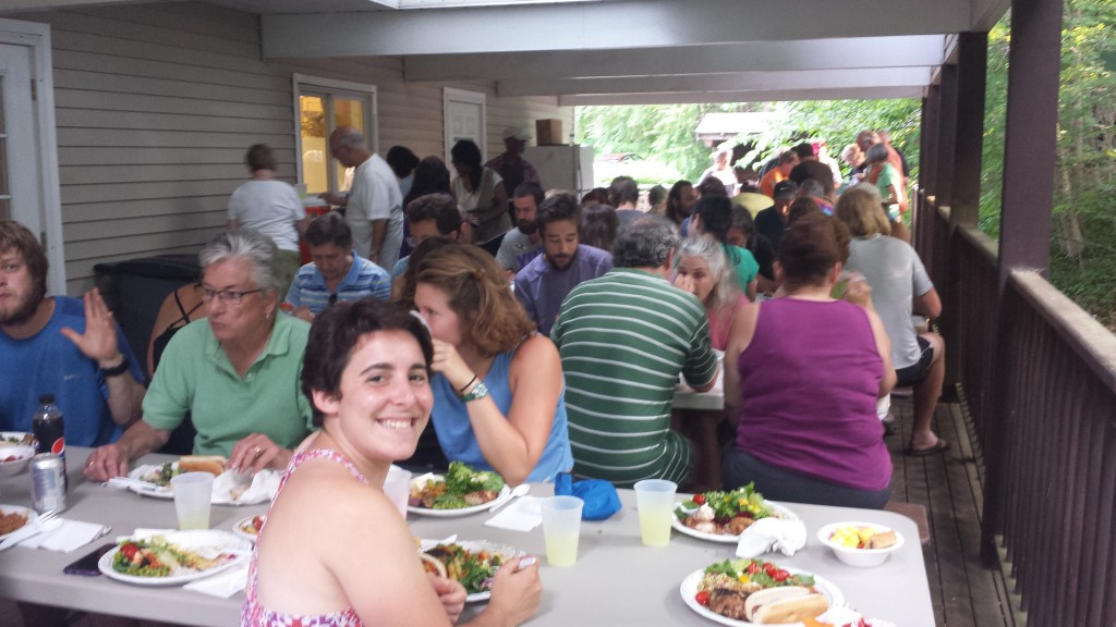 Thursday night potluck dinner at the Church of the Mountain hostel in Delaware Water Gap. So much good food and company!