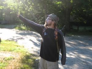 Doing my best Steve Zissou imitation pointing towards Katahdin.