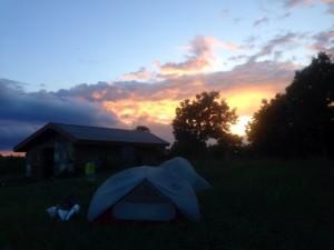 Sunset at Chestnut Knob Shelter