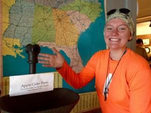 Apple Cider finds an apple cider press inside the museum!