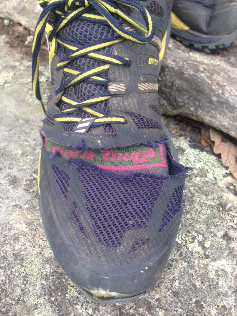 """These socks might be """"Darn Tough"""" but the shoes have taken a beating.  One trip to many."""