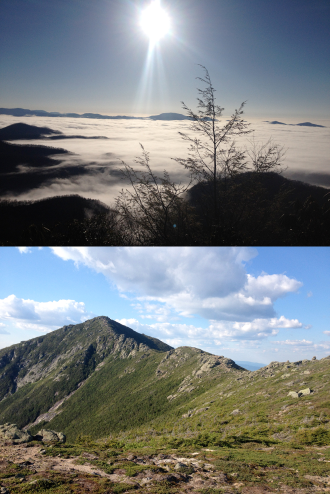 The beauty found along the trail surpasses any expectations you may have. (top: valley fog as seen from near Albert mountain; bottom: approaching Franconia Ridge)