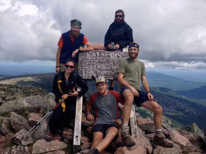 My thru-hiking summit crew (clockwise from top right: Sloth, me (Yo Teach!), Birdman, Nails, and Ranger. Not pictured: LoJack, who had to run back to meet his father, and section hikers Spider-Man and Socks).