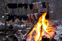 drying clothes by fire