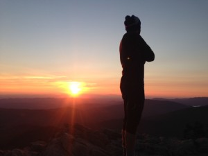 Mapeid enjoys the sunset from Killington Peak