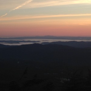 A sea of clouds just before sunrise on Killington