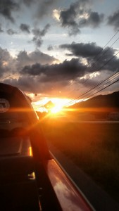 A view of the sunset from my hitch in to Roan Mountain, TN