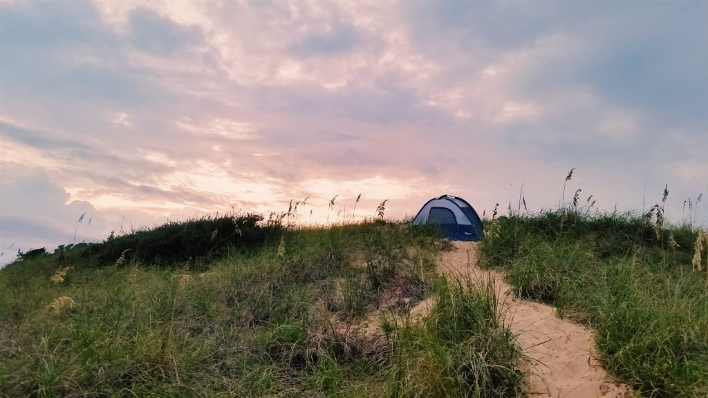 The perfect campsite in the middle of the dunes