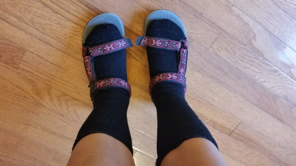 They make my feet look swollen, but Teva's + Blue Flame Socks is a perfect combination