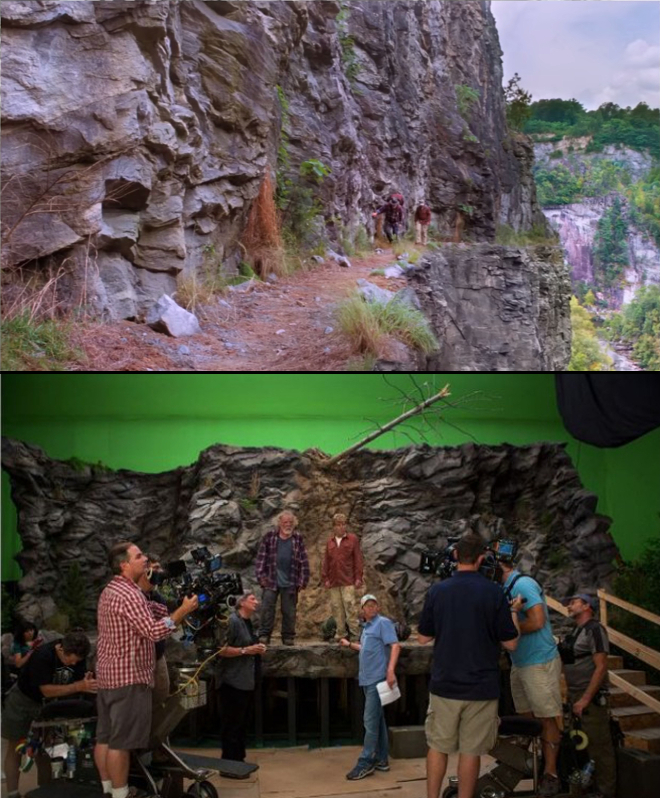 (Top) Near the end of the film, Bryson and Katz follow the A.T. in Virginia along a (nonexistent) cliffside with a sheer dropoff. (Bottom) This cliff was primarily created using computer effects, with a small set being used during filming. Images courtesy of Route One Films and Wildwood Enterprises.
