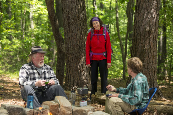 The character Mary Ellen (played by Kristen Schaal) berates Katz (Nick Nolte) and Bryson (Robert Redford) about what being a real hiker is all about. Image courtesy of IMDB.