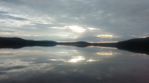 Sunset on a pond in Maine, shared with my friend Yaeger.