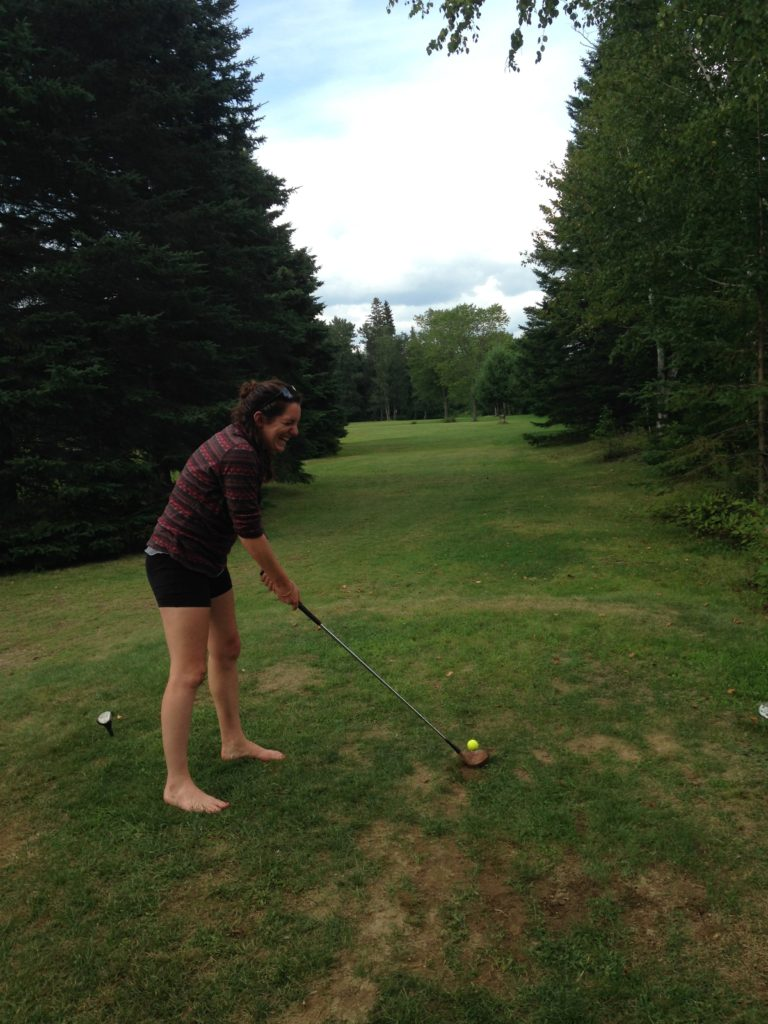 Playing golf with Chloe at a local spot (by donation) in Rangely.