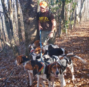 Hunter with bear dogs