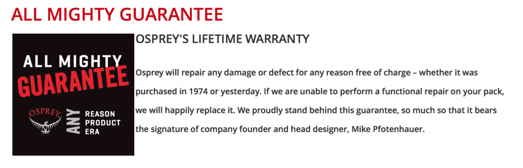 In case you haven't heard, Osprey has a lifetime warranty on their packs. #rad
