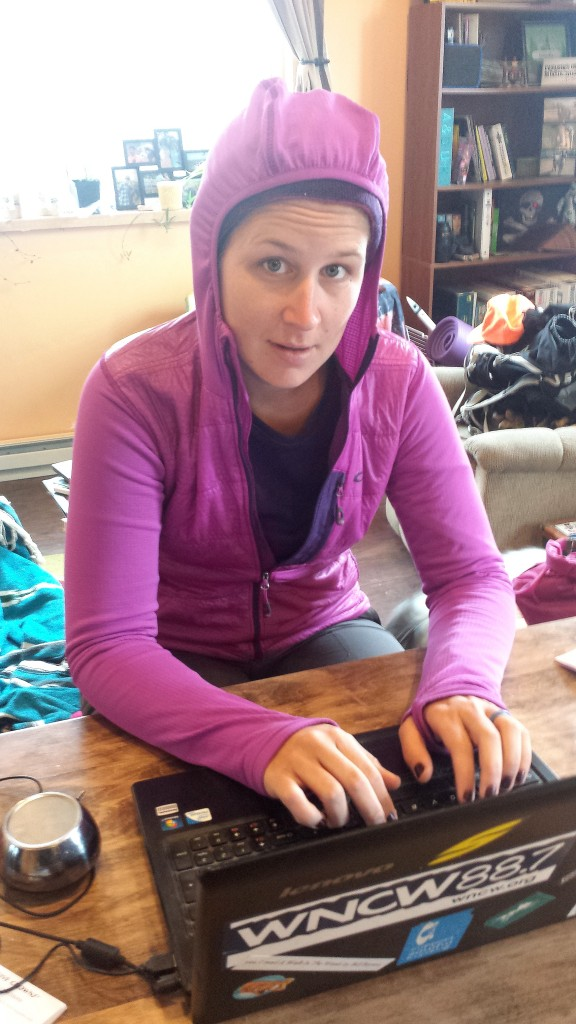 Hood Up, Thumb Holes on. Post hike trip reports are best done in costume!