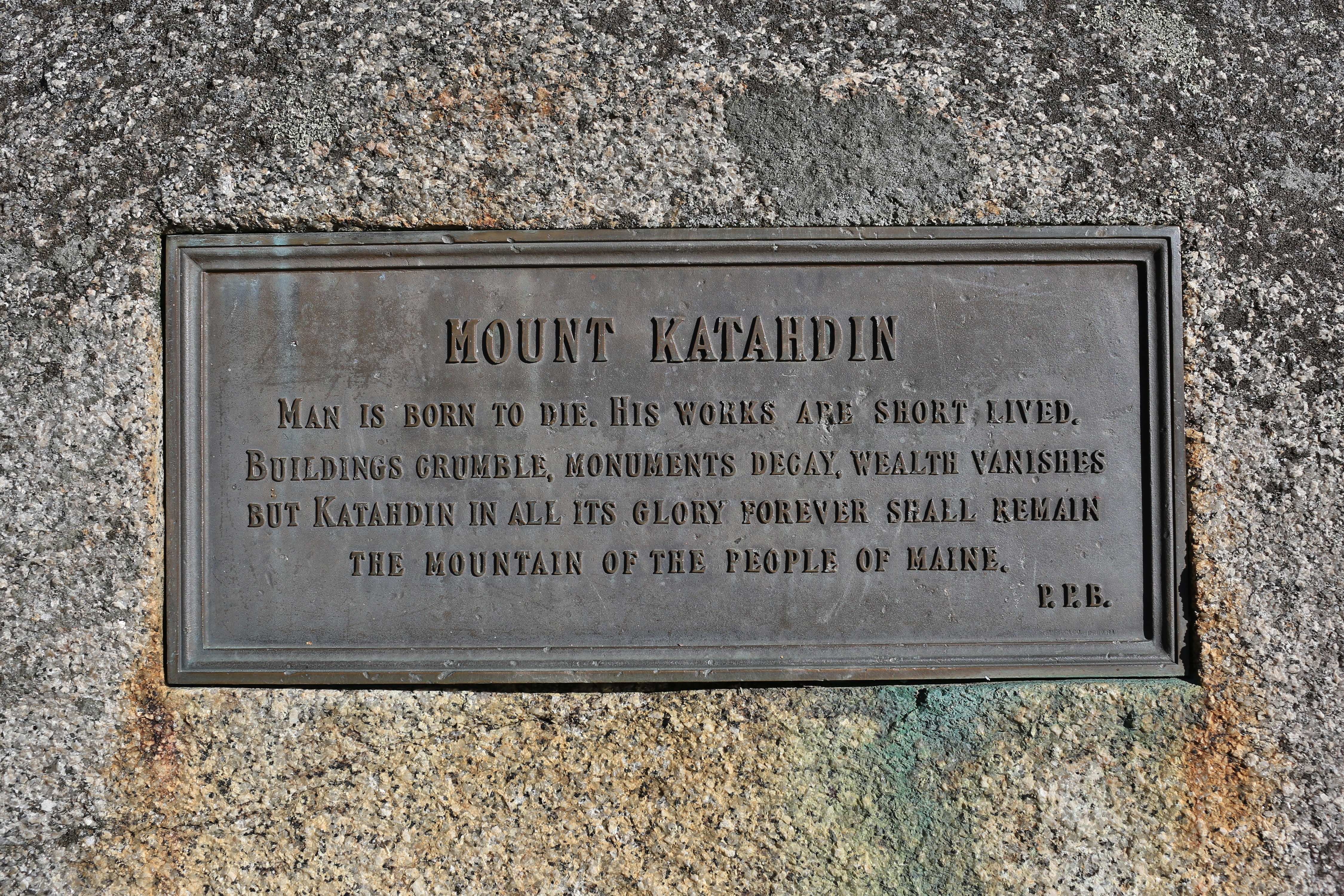 The plaque at the base of Katahdin.