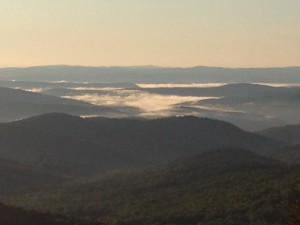 Sunrise from the Lookout, with clouds in the valley.