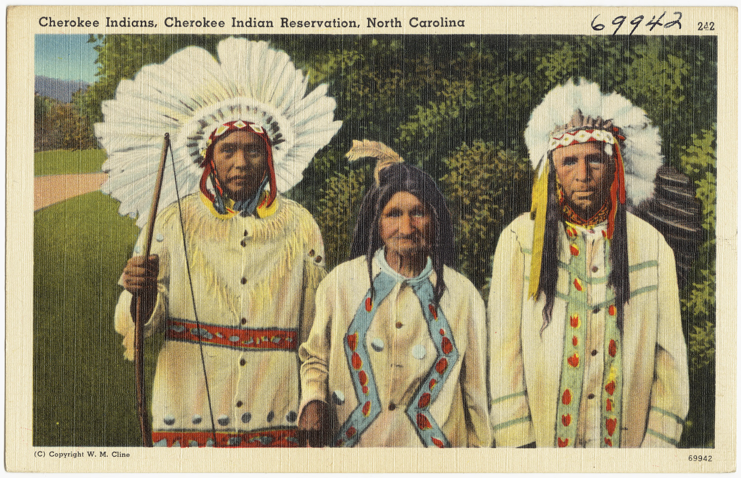 A circa 1940 postcard depicting the Cherokee of North Carolina. Tichnor Brothers Collection.
