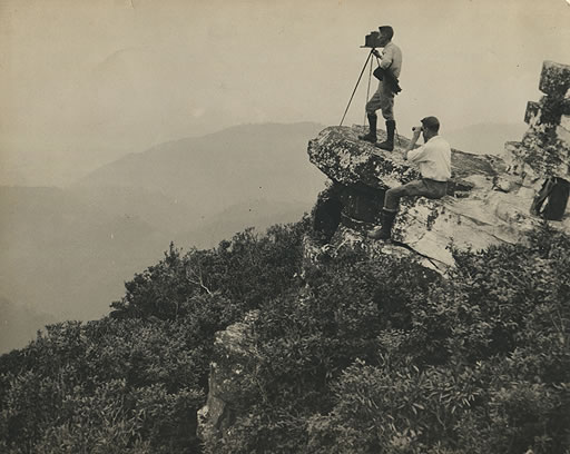 George Masa photographing the Smoky Mountains.