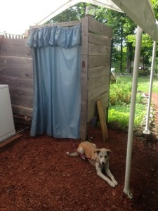 """Star guarding the """"toilet room"""" at Hiker's Welcome Hostel."""