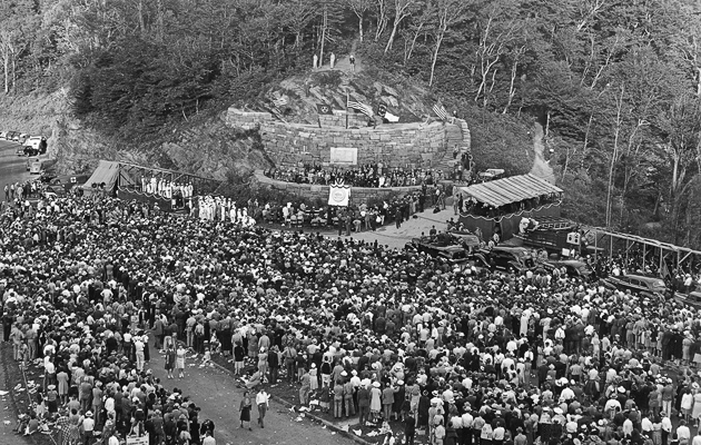 The crowd at Newfound Gap during the ceremony when Roosevelt dedicated the park to the American people.
