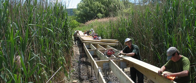 Building a boardwalk for the AT. Photo courtesy East Hudson on Flickr.