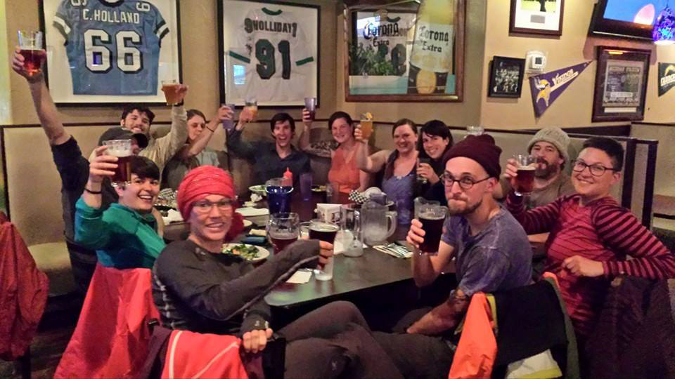 Friendships are formed in an hour!!! A random group of hikers who came together to celebrate the first 100 miles!