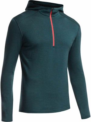 Merino wool base layers, like the Icebreaker Oasis Long Sleeve Half Zip Hood, are breathable, odor resistant and retain their warmth even when wet, but are more prone to abrasion than synthetics. Image courtesy of Moosejaw.