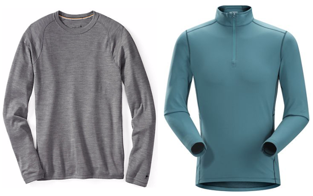 Midweight and heavyweight base layers are best suited for low-intensity activities and/or cold temperatures. Pictured above: SmartWool Men's NTS Mid 250 Crew (left) and Arc'teryx Men's Phase SV Zip Neck LS (right).