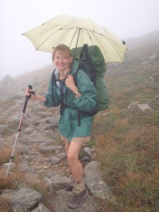 Loved my umbrella - here heading through the Presidential Range in NH