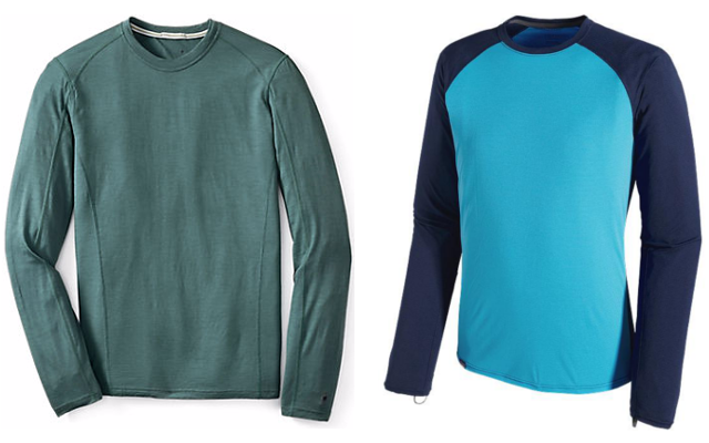 Microweight and lightweight base layers are best suited for high-intensity activities and/or moderately cool temperatures. Pictured above: SmartWool Men's NTS Micro 150 Crew (left) and Patagonia Men's Capilene Lightweight Crew (right).