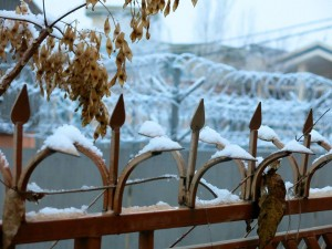 Snow and Razor Wire in Kabul, Afghanistan