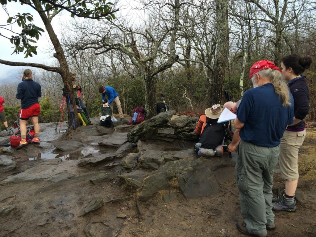 Hikers at wet Springer Mtn. view, Jim Fetig