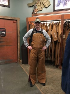 Alex in Coveralls at the Bass Pro Shop