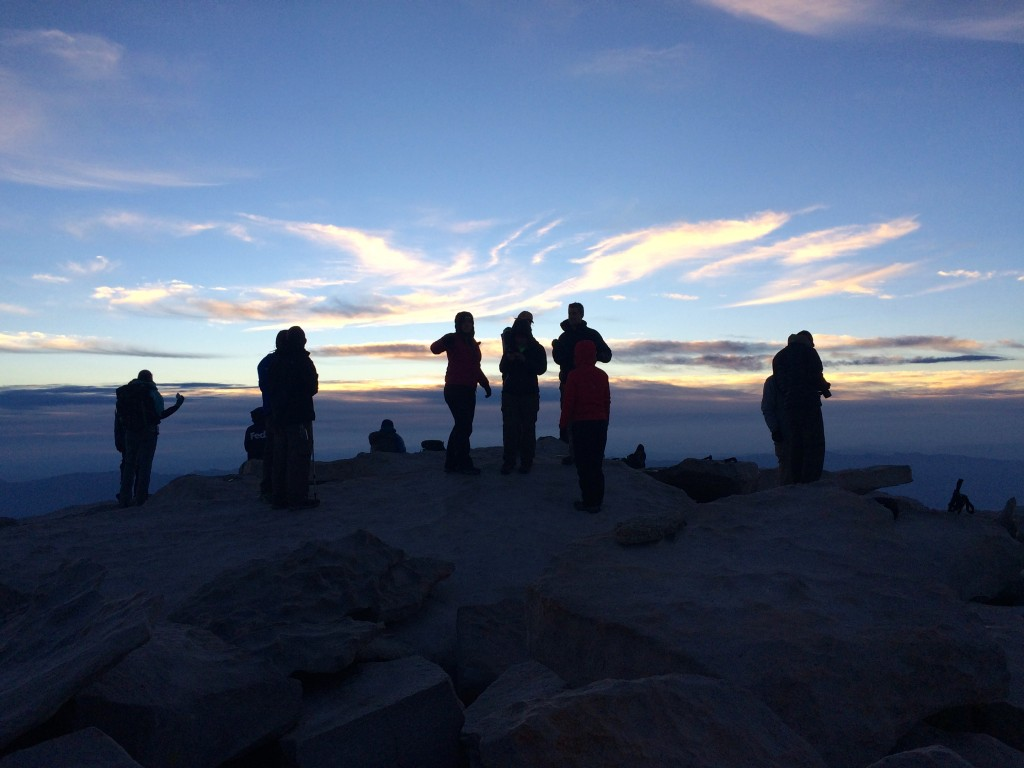 Waiting for sunrise atop Mt. Whitney (14,505 ft.).