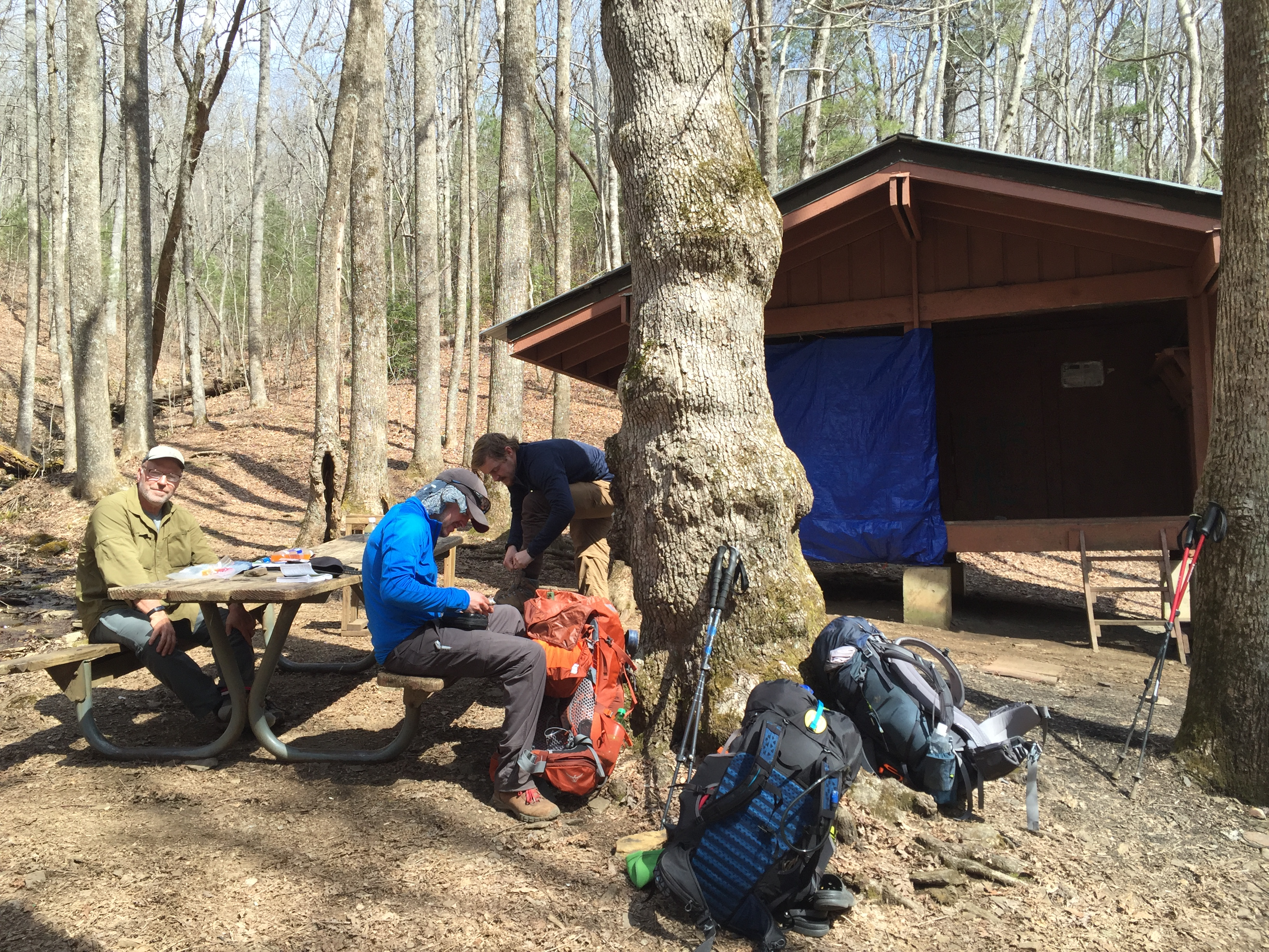 A typical lunch break at a shelter alone the AT.