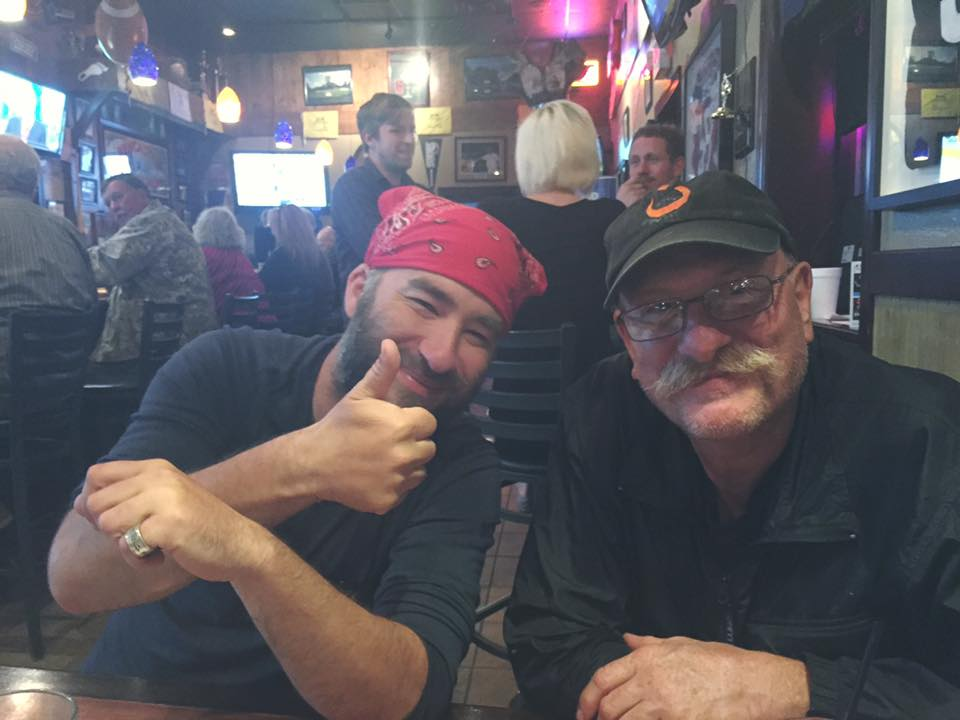 Dining with Cold Turkey (left) and Wyatt Earp (right) who I met at Mulligans Bar & Grille in Franklin. Wyatt Earp had us all in tears sharing stories of his time of service in the military and about his family and children back home.