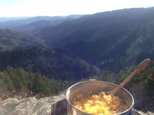 The cheesiest Kraft Dinner with the BEST view.