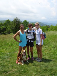 Erika, Abby, Major, and I hiking in the Shenadoahs