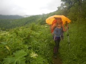 Using my new Sea-to-Summit umbrella in the rain