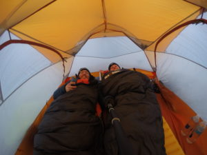 We had so much hope at this point in the night...when we first climbed into bed. It became windier and colder as the night went on.