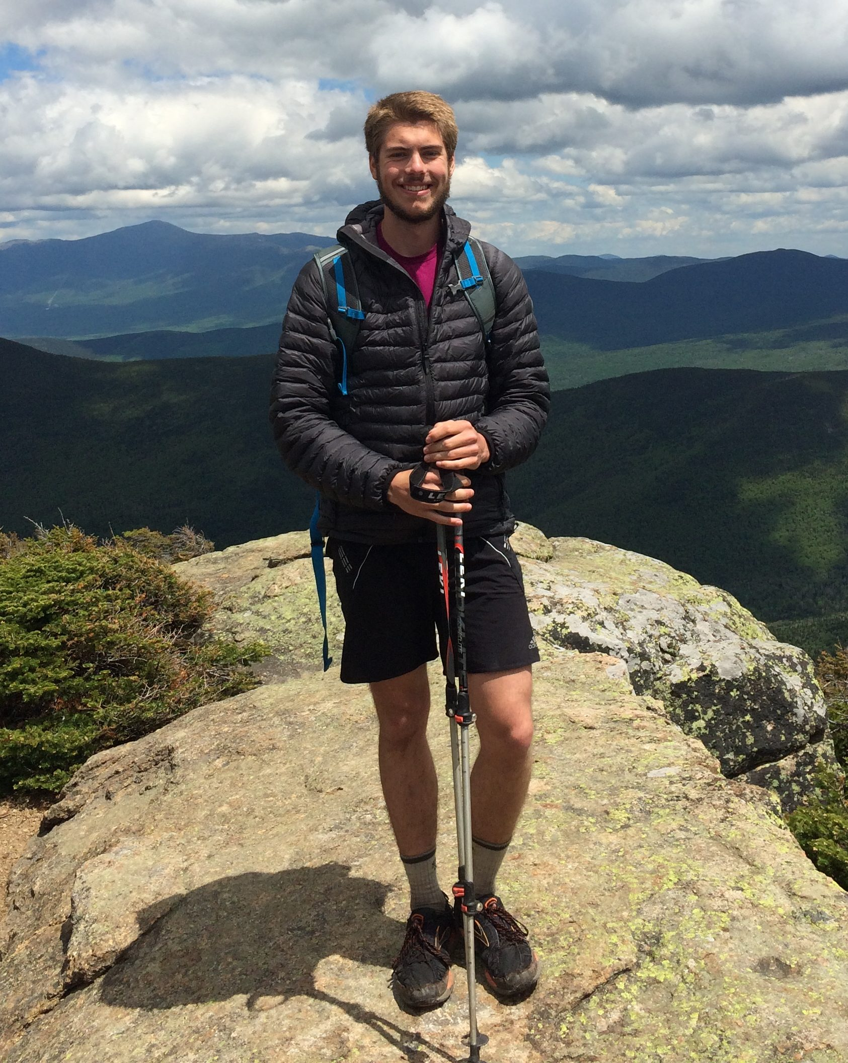 Myself wearing the Elite DriDown Hoody near the summit of North Twin in the White Mountains.