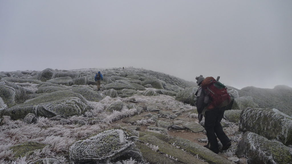 Gary's late start and multiple misadventures meant an icy climb to Baxter Peak.