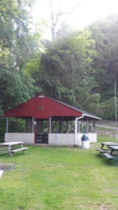 Graymoor Spiritual Life Center pavilion, ball field, and Thru-hiker campground.