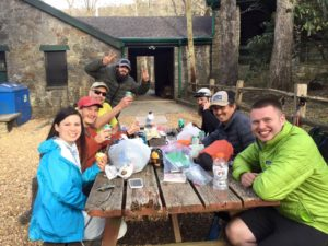 Bonding with the Crew from the First Bubble with some Trail Magic (beer and foods) after Blood Mountain