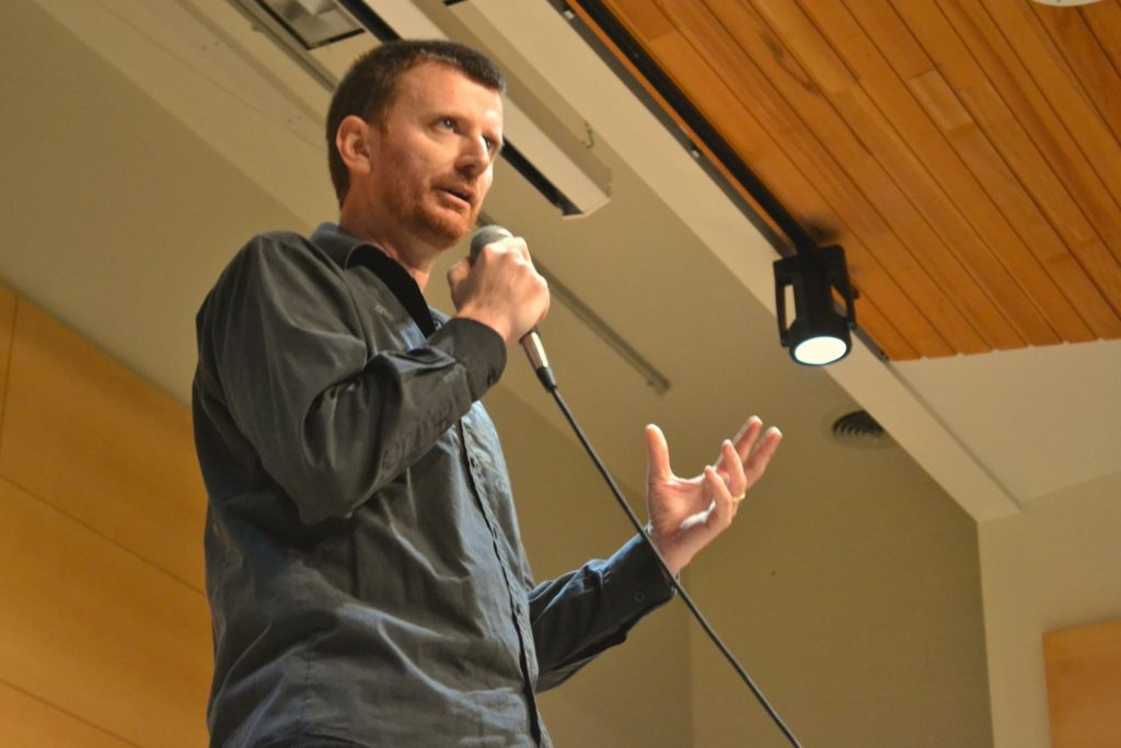 Doing Stand-up Comedy in 2015 at the college of William and Mary.