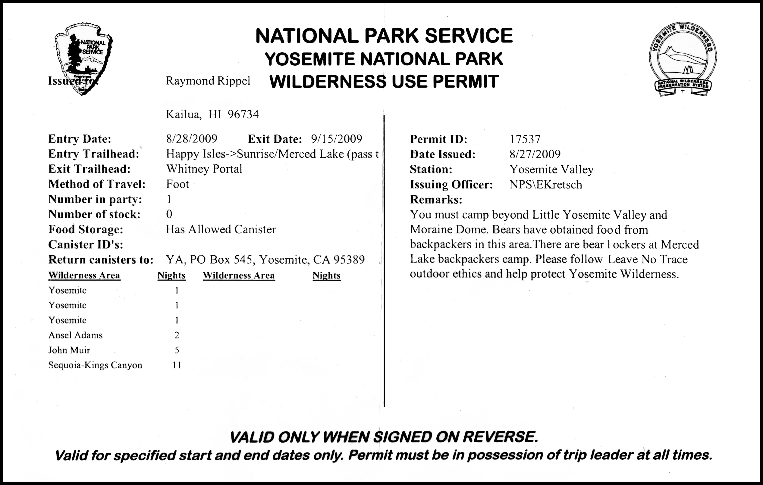 An example of a JMT Permit