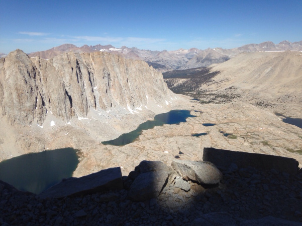 Get ready for beautiful views on the JMT - like this one of Guitar lake from the trail up Mount Whitney