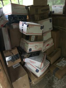 Mail-drop resupply boxes at Standing Bear Farm Hostel